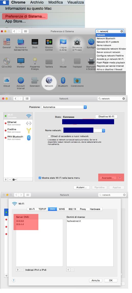 Guida passo passo per la modifica del DNS su Mac.